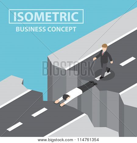 Businessman Use Himself As A Bridge To Pass A Gap On The Mountain