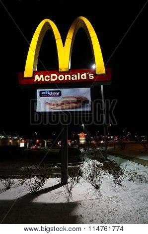 McDonald's Restaurant Sign at Night