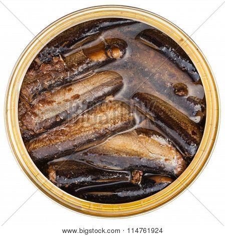 Tinned Smoked Sprats Fish In Oil Isolated