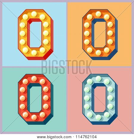 Vector light up colorful flat lamp alphabet. Letter O