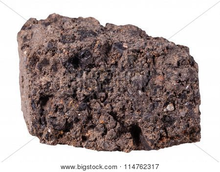 Peat (turf) Mineral Stone Isolated On White