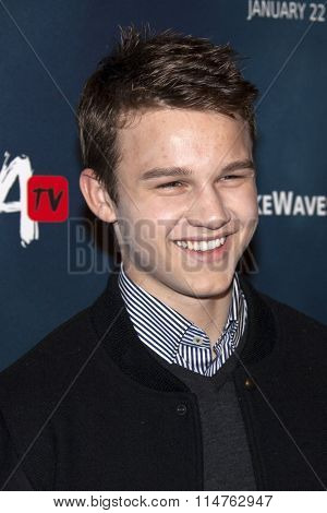 vLOS ANGELES - JAN 14:  Gavin MacIntosh at the The 5th Wave Los Angeles Premiere at the Pacific Theatres At The Grove on January 14, 2016 in Los Angeles, CA