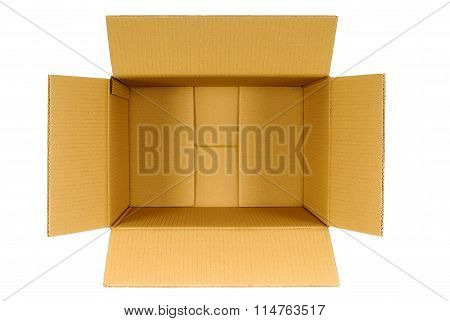 Top View Of An Open Plain Brown Blank Empty Cardboard Box Isolated On White Background, Copy Space