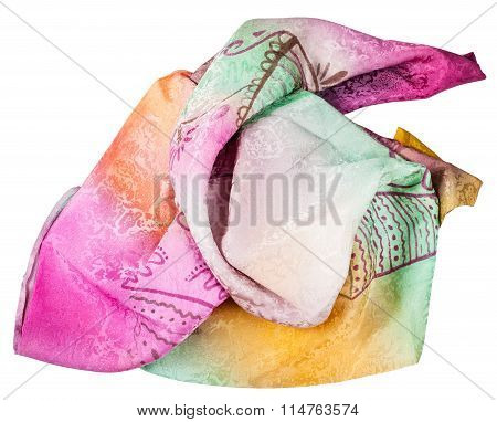 Crumpled Pink And Yellow Scarf With Batik Pattern