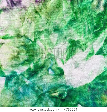 Abstract Hand Painted Green Nodular Batik