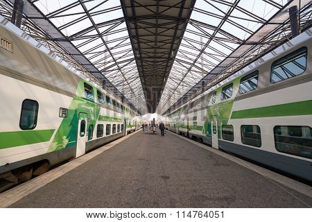 HELSINKI, FINLAND - SEPTEMBER 21, 2014: train at Helsinki Central railway station. It is the focal point of public transport in the Greater Helsinki area.
