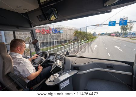 HELSINKI, FINLAND - SEPTEMBER 21, 2014: inside Volvo bus. Volvo Buses is the world's largest bus manufacturer, with a complete range of heavy buses for passenger transportation