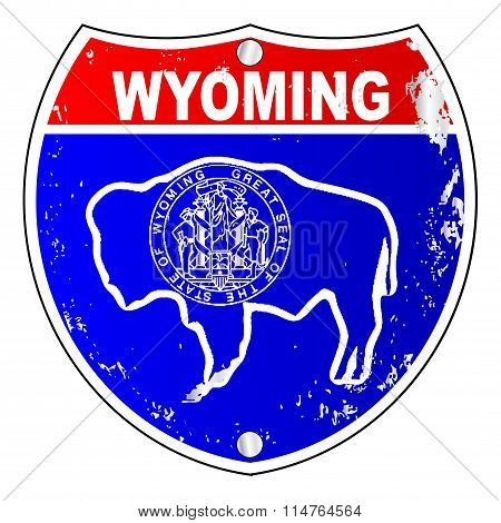 Wyoming Flag Icons As Interstate Sign