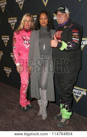 LOS ANGELES - JAN 16:  Debrah 'Madusa' Miceli, Garcelle Beauvais, Dennis Anderson at the Monster Jam Celebrity Night at the Angels Stadium on January 16, 2016 in Anaheim, CA