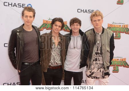 LOS ANGELES - JAN 16:  The Vamps at the Kung Fu Panda 3 Premiere at the TCL Chinese Theater on January 16, 2016 in Los Angeles, CA