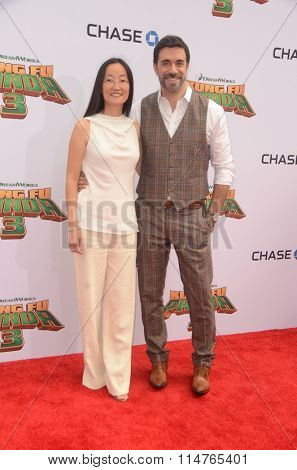 LOS ANGELES - JAN 16:  Jennifer Yuh Nelson, Alessandro Carloni at the Kung Fu Panda 3 Premiere at the TCL Chinese Theater on January 16, 2016 in Los Angeles, CA