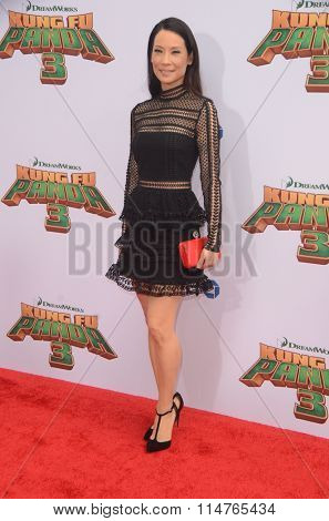 LOS ANGELES - JAN 16:  Lucy Liu at the Kung Fu Panda 3 Premiere at the TCL Chinese Theater on January 16, 2016 in Los Angeles, CA