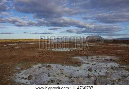 Hverarond Geothermal Field In Iceland. This Is A Field In Krafla Caldera Area Near Mvatmn Lake Which