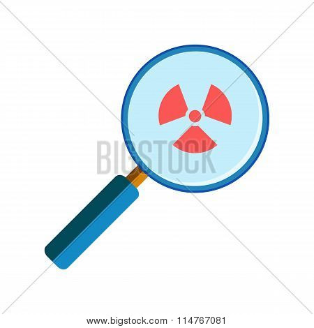 Magnifying glass with radiation sign