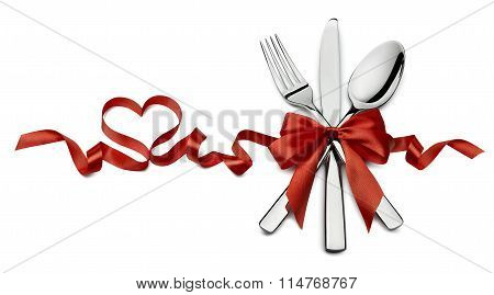 Silverware In Red Valentine Ribbon Heart Shape Horizontal Isolated