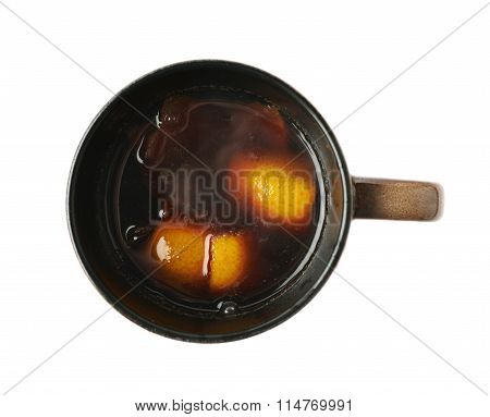 Mug filled with mulled wine isolated