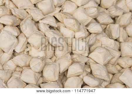 Different Varieties Of Tofu For Sale In A Market Of China