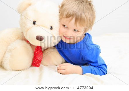 cute little boy with teddy bear