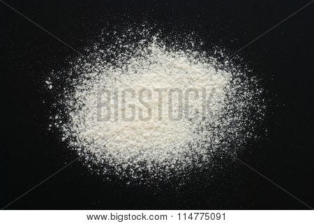 White Flour On Black Background - Free Space For Text