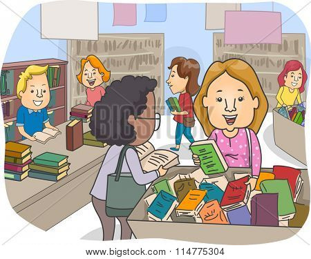 Illustration of a Customers at a Book Bazaar Checking the Selection of Books