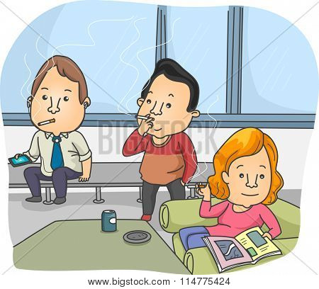 Illustration of Smokers Taking a Break in the Smoking Room
