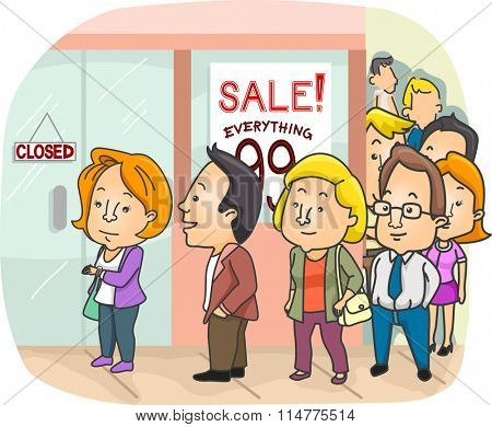 Illustration of a Long Line Outside a Mall Having a Sale