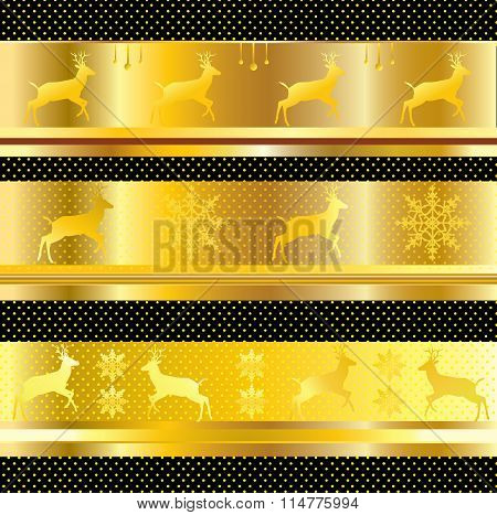 Christmas Border reindeer Christmas Gold Vector ornament. Border with deer abstract Vector Illustration. Beautiful Gold ornament with gold polka dots on black background. High resolution, Fashion design, art, printing, album, greeting card, texture, patte