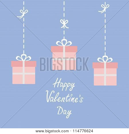 Happy Valentines Day. Love Card. Three Hanging Giftboxes. Dash Line With Bow. Flat Design. Rose Quar
