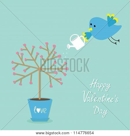 Happy Valentines Day. Love Card. Tree In The Pot. Heart Flower. Bird With Watering Can. Blue Backgro