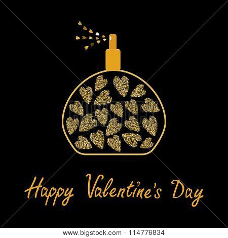 Happy Valentines Day. Love Card. Perfume Bottle With Hearts Inside. Gold Sparkles Glitter Texture Bl