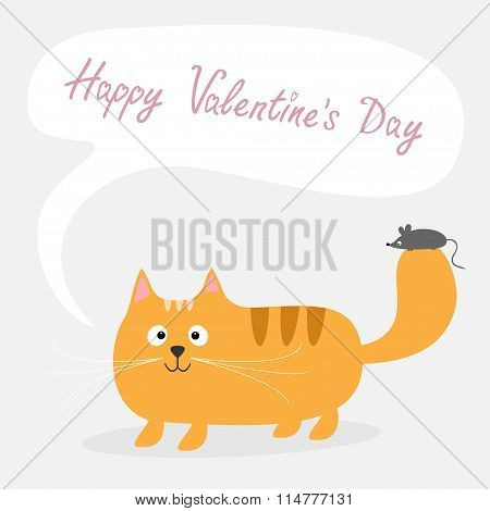 Happy Valentines Day. Love Card. Cute Cartoon Red Cat With Mouse Talk Think Bubble Card. Kids Backgr