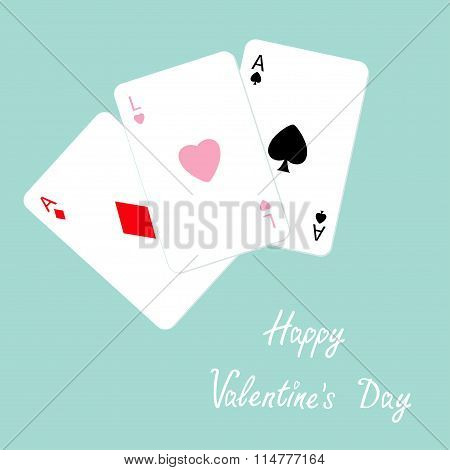 Happy Valentines Day. Poker Playing Card Combination With Ace Of Spade, Diamond And Heart Sign Love