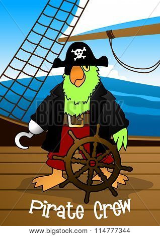 Pirate Crew Parrot With Hook Steering The Ship