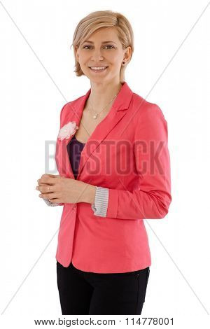 Portrait of happy businesswoman smiling, looking at camera.
