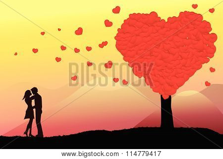 The Silhouette Of A Bride And Groom Embracing Each Other. The Trees Along The Heart-shaped Valentine