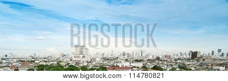 Panorama View Cityscape Of Bangkok, Thailand