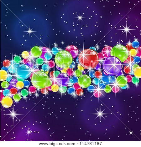 Color balloons on starry night background.