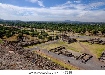 Scenic View Of Avenue Of Dead In Teotihuacan, Mayan Pyramids