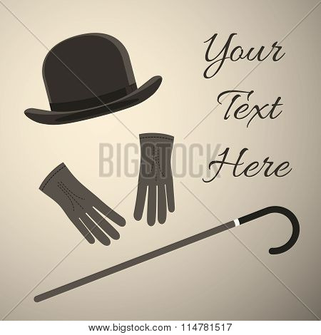 Old style Man accessory, bowler hat with gloves