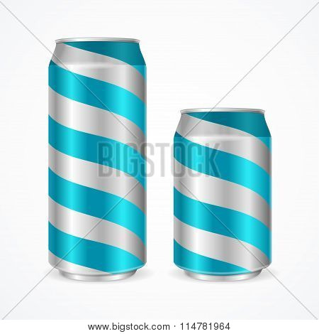 Aluminium Cans with Blue Stripes. Vector