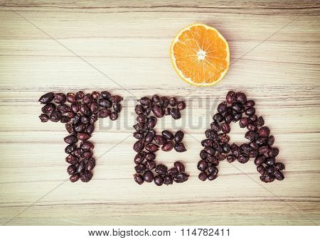 Title Tea Composited Of The Dried Rosehips With Sliced Orange