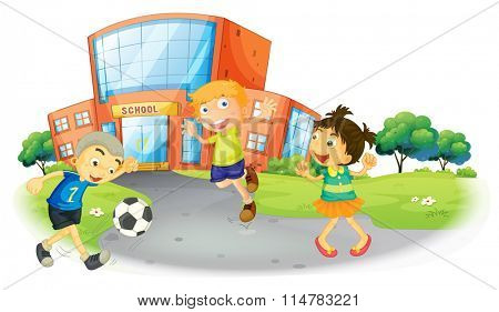Children playing football at the school illustration