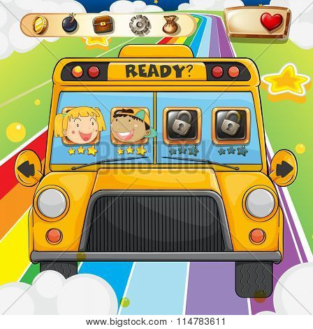 Game template with children riding in bus illustration