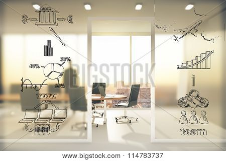 Business Scheme Concept On Transparent Wall In Conference Room At Sunset
