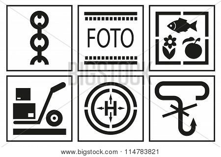 Signs on packaging. Logistic icon for box. Packaging Box Symbols