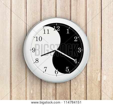 Yin Yang Clock On Wooden Wall