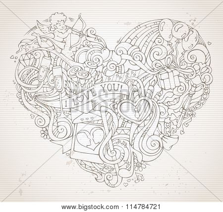 Vintage Hand-drawn Doodles Heart Background In Sepia.