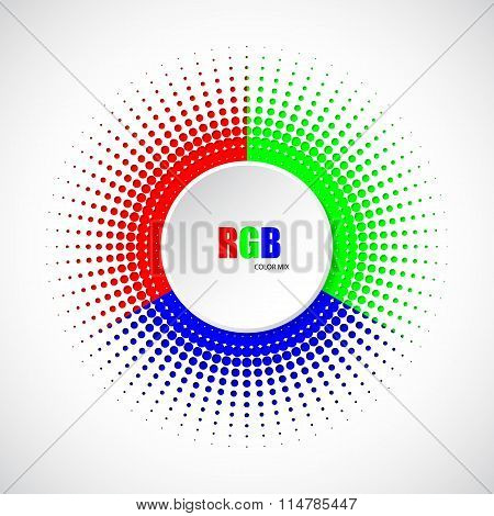 Abstract Rgb Halftone Background With 3D Button