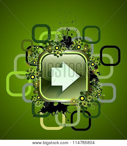 Square web button on white background. Grunge and flat long shadow style. Vector illustration internet design graphic element