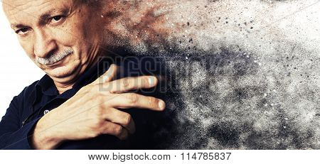 Dust Explosion. Successful Elderly Man